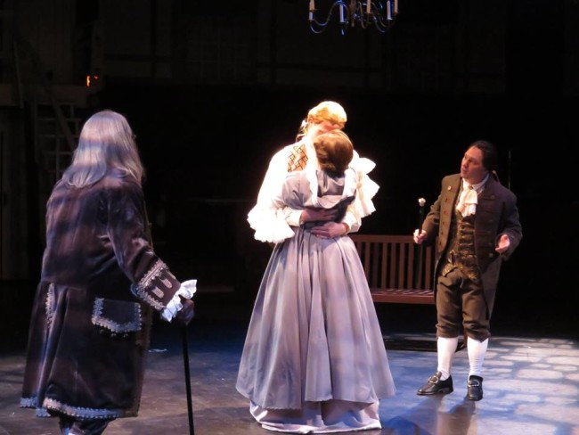 (L to R) Ben Franklin (John Stevenson) Thomas Jefferson (Brendan McMahon) Martha Jefferson (MaryKate Brouillet) and John Adams (Jeffrey Shankle)