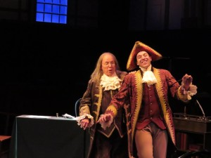 John Stevenson (left) as Ben Franklin and Jeremy Scott Blaustein (right) as Richard Henry Lee