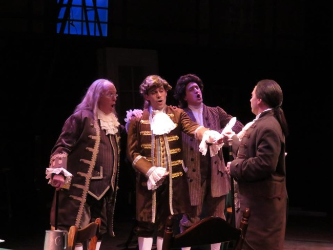 (L to R) John Stevenson as Benjamin Franklin, Ben Lurye as Robert Livingston, Chris Rudy as Roger Sherman, and Jeffrey Shankle as John Adams.