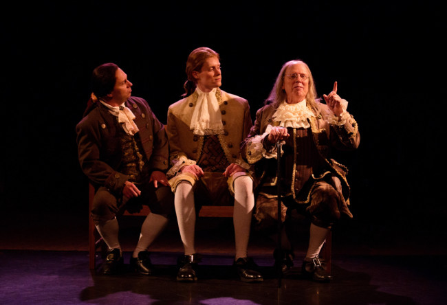 Jeffrey Shankle as John Adams (left) Brendan McMahon as Thomas Jefferson (center) and John Stevenson as Ben Franklin (right)