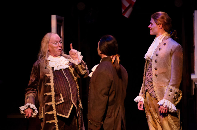 John Stevenson as Ben Franklin (left) Jeffery Shankle as John Adams (center) and Brendan McMahon as Thomas Jefferson (right)