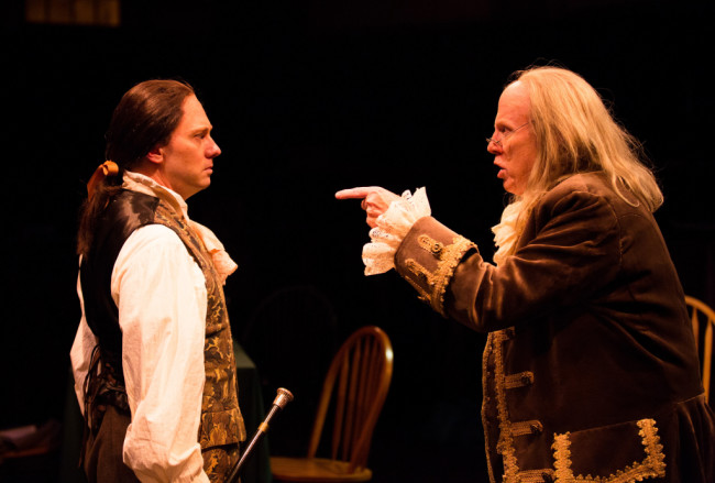 Jeffrey Shankle as John Adams (left) and John Stevenson as Ben Franklin (right)
