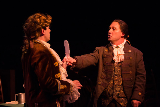 Ben Lurye as Robert Livingston (left) and Jeffrey Shankle as John Adams in 1776 at Toby's Dinner Theatre