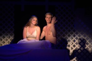 Haley Briner (left) as Brenda and Ron Giddings (right) as Frank Abagnale Jr.