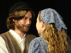 Justin Moe as Perchik (left) and Kelsey Riechard as Hodel (right)