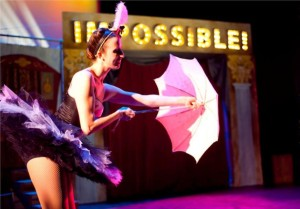 Sarah Olmsted Thomas as Cassiopeia: Queen of the Air in Impossible! A Happenstance Circus