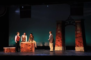 (L to R) Drew Looney as Aaron Scholtz, Edwin J. Santiago as Padamadan, Julie O'Hara as Enid Hoops, and Zac Brightbill as Emmet Forest