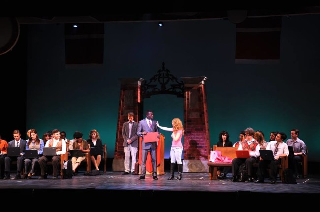 (centered) Zac Billbright (left) as Emmet Forest, Audrey Tchoukoua (center) as Professor Callahan and Victoria Meyer (right) as Elle Woods