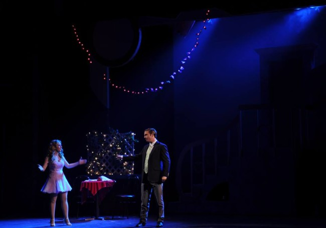Victoria Meyers (left) as Elle Woods and Marc Pavan (right) as Warner Huntington III