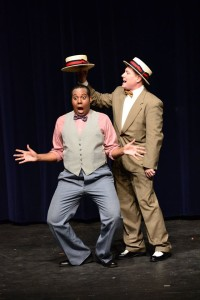 J. Hargrove (left) as Marcellus Washburn and E. Lee Nicol (right) as Professor Harold Hill