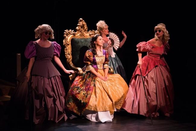 (L to R) Lucinda (MaryKate Brouillet) Cinderella (Julia Lancione) Cinderella's Stepmother (Heather Marie Beck) and Florinda (Katie Keyser)