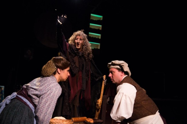 Priscilla Cuellar (left) as Baker's Wife, Janine Sunday (center) as The Witch, and Jeffrey Shankle (right) as Baker