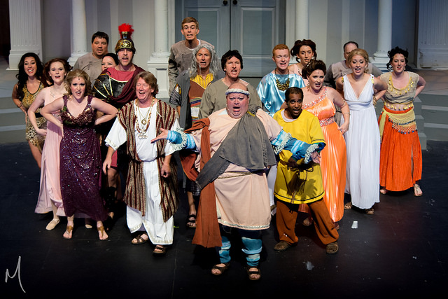 The Company of A Funny Thing Happened on the Way to the Forum at Milburn Stone Theatre
