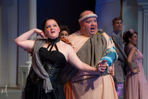 Natalie Olynick (left) as Gymnasia and Ted Cregger (right) as Pseudolus