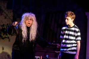 Ginny White (left) as Grandma Addams and Drew Sharpe (left) as Pugsley