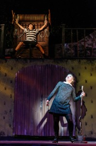 "Lucy Bobbin (below) as Wednesday Addams, torturing Pugsley (above- Drew Sharpe) during ""Pulled"""