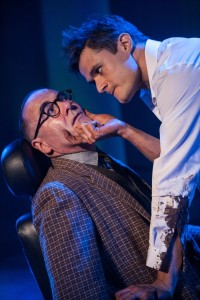 Lawrence Redmond (left) as Grahame Chandler and Mark Evans (right) as Cal Chandler in The Fix at Signature Theatre