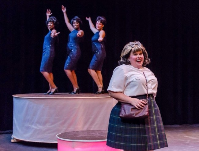 Amy E. Haynes as Tracy Turnblad (front) and The Dynamites (back- Renata Hammond, Taylor Dodson, and Sydney Pope) in Hairspray