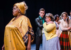 (L to R) Tracy McCracken as Motormouth Maybelle, David Woodward as Link Larkin, Amy E. Hayens as Tracy Turnblad, and Katie Tyler as Penny Pingleton
