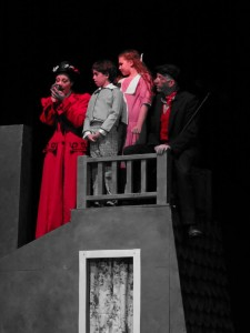 (L to R) Katie Sheldon as Mary Poppins, Julianna Groves as Michael, Compton Little as Jane, and Eric Stein as Bert in Mary Poppins