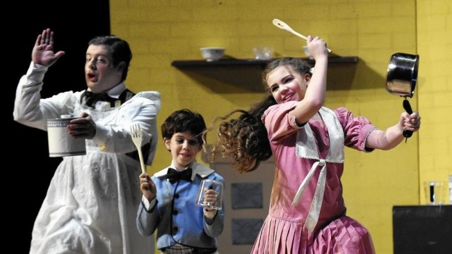 Dave Hill (left) as Robertson Ay, Julianna Groves (center) as Michael, and Compton Little (right) as Jane in Mary Poppins at September Song