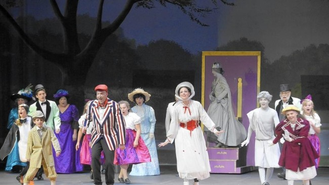 "The company of Mary Poppins performing ""Jolly Holiday"" in September Song's production of Mary Poppins"
