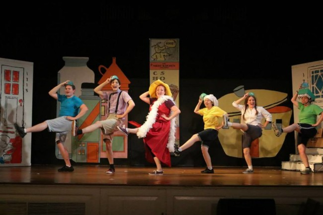 (L to R) Jim Gerhardt as Pierre, James Ruth as Johnny, Heather Harris as Rosie, Maggie Lynn Walker as Chicken Soup, Adeline K. Sutter as Kathy, and Raika Boia as Alligator in Really Rosie