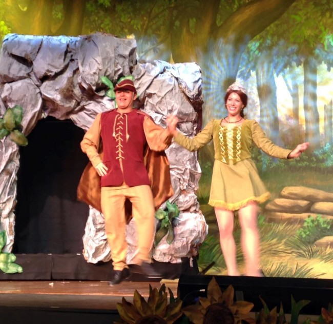 "Emilio Bayarena (left) as Pied Piper and Alyson Marks (right) as Princess Fiona performing ""Morning Person"""