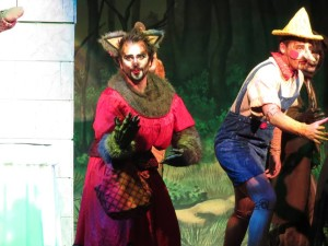 "Henry Cyr (left) as The Big Bad Wolf and Willem Rogers (right) as Pinoccio singing ""Freak Flag"" in Shrek The Musical"
