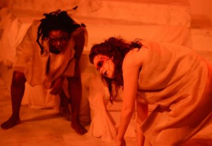 The Furies (Trustina Fafa Sabah- left, and Sarah Weissman- right) tell the tale of the cursed House of Atreus.