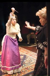Autumn Boyle (left) as Alice and Evangeline Ridgaway (right) as Rockalda in A Sensation Novel at Spotlighters Theatre
