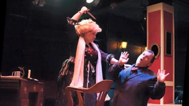 Evangeline Ridgaway (left) as Rockalda and Connor Moore (right) as Herbert in A Sensation Novel at Spotlighters Theatre