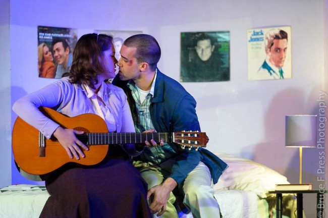 Courtney Branch (left) as Rose and Christian Hoff (right) as Birdlace in Dogfight at Red Branch Theatre Company