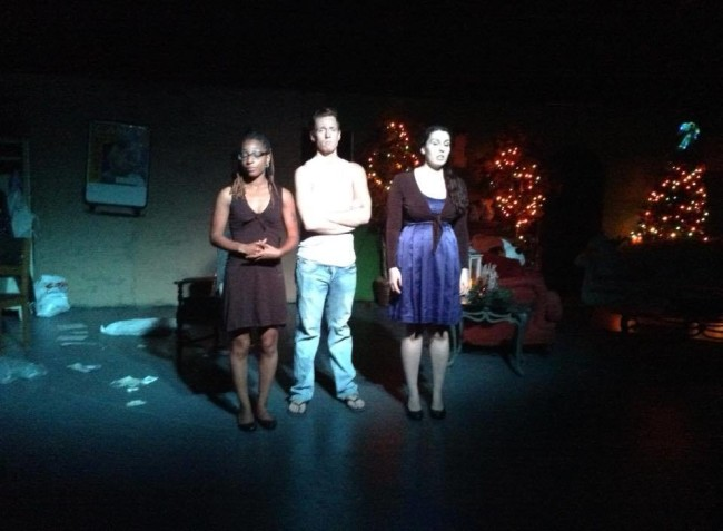 Kelly Richards (left), Dwayne Allen (center) and Melanie Pino-Elliott in Forsaken Angels at Wolfpack Theatre Company