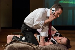 Adam Wahlberg (above) as Stephen with Melissa Redfield (below) as Molly in Farragut North at Milburn Stone Theatre