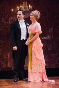 Jamison Foreman (left) as Gerald Croft and Sophie Hinderberger (right) as Shelia Birling in An Inspector Calls at Everyman Theatre