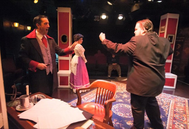 Jim Knost (left) as Sir Ruthven, Autumn Boyle (center) as Alice, and Connor Moore (right) as Herbert in A Sensation Novel at Spotlighters Theatre