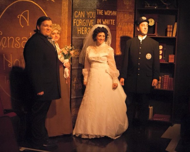 (L to R) Connor Moore as Herbert, Evangeline Ridgaway as Rockalda, Autumn Boyle as Alice, and Jim Knost as Tom Sittybank in A Sensation Novel at Spotlighters Theatre