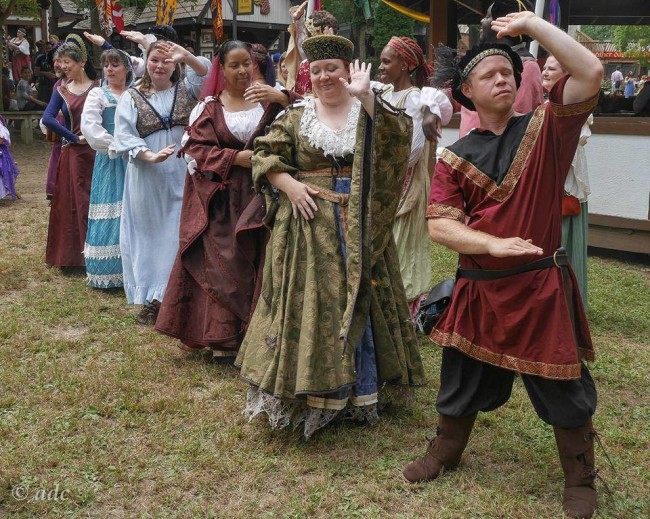 The company of PGLT's Once Upon a Mattress performing as a preview at The Maryland Renaissance Festival to promote their upcoming show