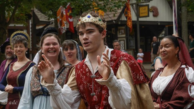 Prince Dauntless (center- Lord Michael Culhane) and the company of Once Upon a Mattress at the Maryland Renaissance Festival promoting their upcoming performance
