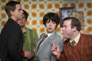 (L to R) Matt Baughman as Alan, Matt Lee as Lloyd, Jenna Rossman as Rachel Crabbe, and Thomas Scholtes as Francis Henshall in One Man, Two Guvnors at Maryland Ensemble Theatre