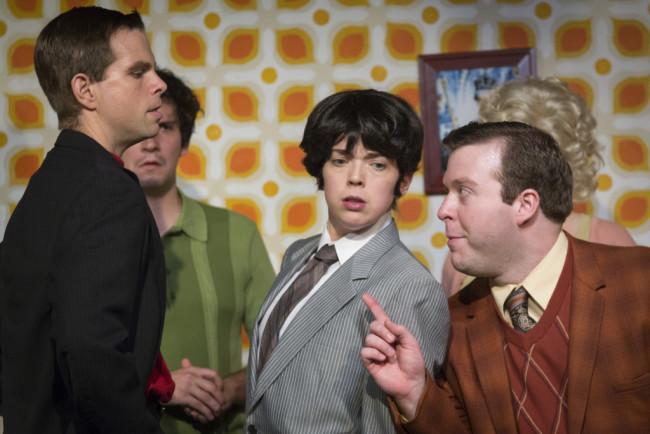 (L to R) Matt Baughman as Alan, Matt Lee as Lloyd, Jenna Rossman as Rachel Crabbe, and Thomas Scholtes as Francis Henshall in One Man, Two Guvnors at Maryland Ensemble Theatre
