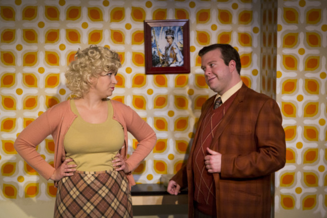 Isabel Duarte (left) as Dolly and Thomas Scholtes (right) as Francis Henshall in One Man, Two Guvnors at Maryland Ensemble Theatre