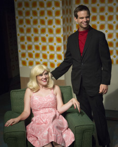 Shea-Mikal Green (left) as Pauline and Matt Baughman (right) as Alan in One Man, Two Guvnors at Maryland Ensemble Theatre