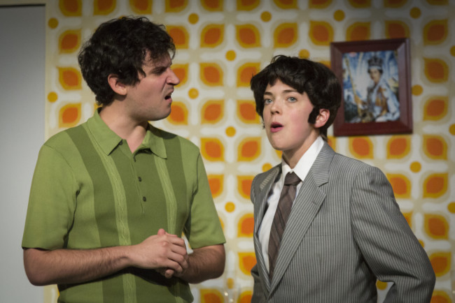 Matt Lee (left) as Lloyd and Jenna Rossman (right) as Rachel Crabbe in One Man, Two Guvnors at Maryland Ensemble Theatre