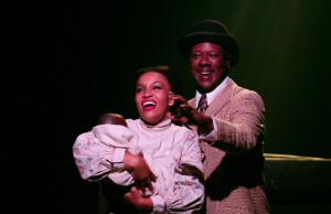 "Ada Satterfield (left) as Sarah and Kevin McAllister (right) as Coalhouse, performing ""Wheels of a Dream"" in Ragtime at Toby's Dinner Theatre"