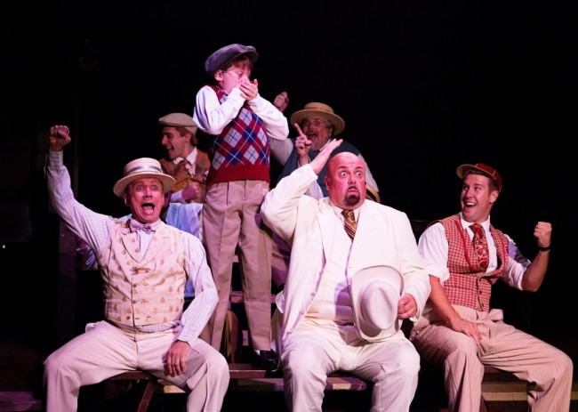 (Front L to R) David James  as ensemble, Gavin Willard as Edgar, David Bosley-Reynolds as Father, Justin Calhoun as ensemble. (Back L to R) Ben Lurye as ensemble, Andrew Horn as ensemble in Ragtime at Toby's Dinner Theatre