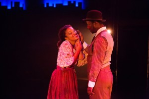 "Ada Satterfield (left) as Sarah and Kevin McAllister (right) as Coalhouse performing ""Sarah Brown Eyes"" in Ragtime at Toby's Dinner Theatre"