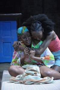 Monique Ingram (left) as Salima and Zurin Villanueva (right) as Sophie in Ruined at Everyman Theatre