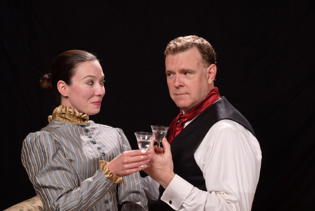 Erin Leigh Hill (left) as Liza Moriarty and Jim Gallagher (right) as Sherlock Holmes in Sherlock's Last Case